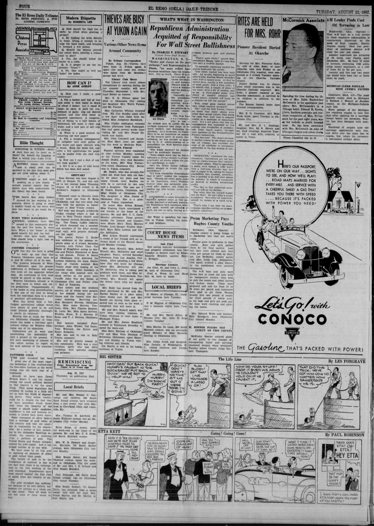 The El Reno Daily Tribune (El Reno, Okla.), Vol. 41, No. 174, Ed. 1 Tuesday, August 23, 1932                                                                                                      [Sequence #]: 4 of 6