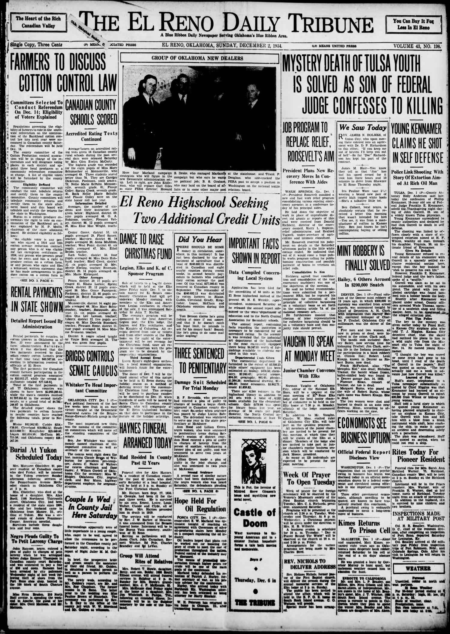 The El Reno Daily Tribune (El Reno, Okla.), Vol. 43, No. 198, Ed. 1 Sunday, December 2, 1934                                                                                                      [Sequence #]: 1 of 6