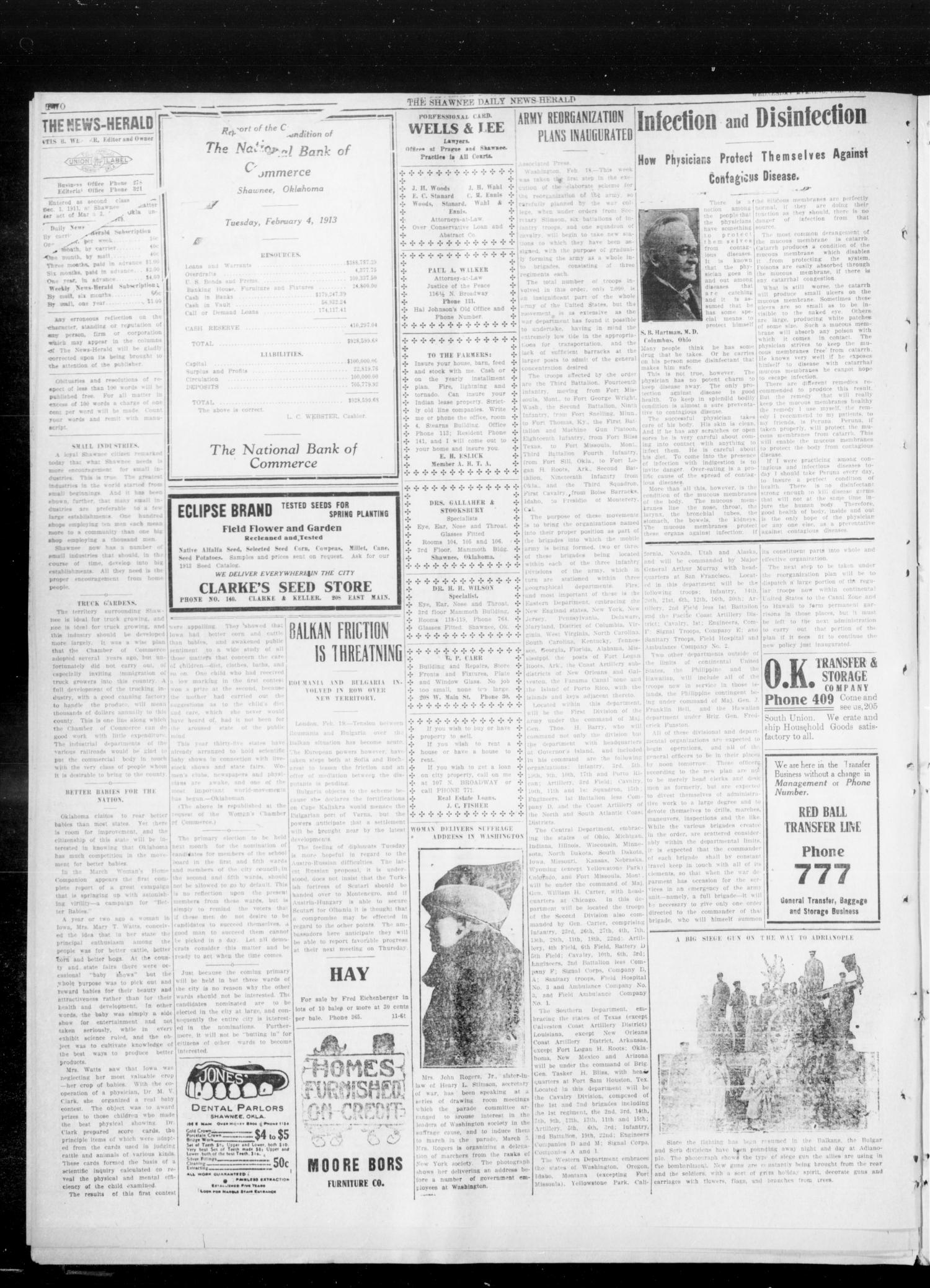 The Shawnee Daily News-Herald (Shawnee, Okla.), Vol. 17, No. 155, Ed. 1 Wednesday, February 19, 1913                                                                                                      [Sequence #]: 2 of 8