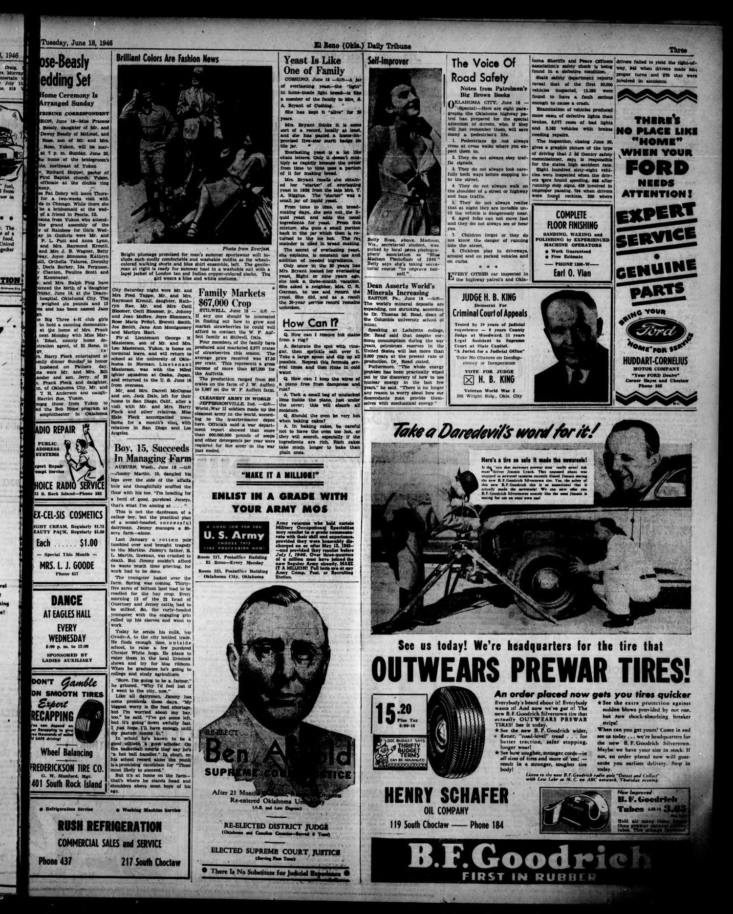 The El Reno Daily Tribune (El Reno, Okla.), Vol. 55, No. 94, Ed. 1 Tuesday, June 18, 1946                                                                                                      [Sequence #]: 3 of 6
