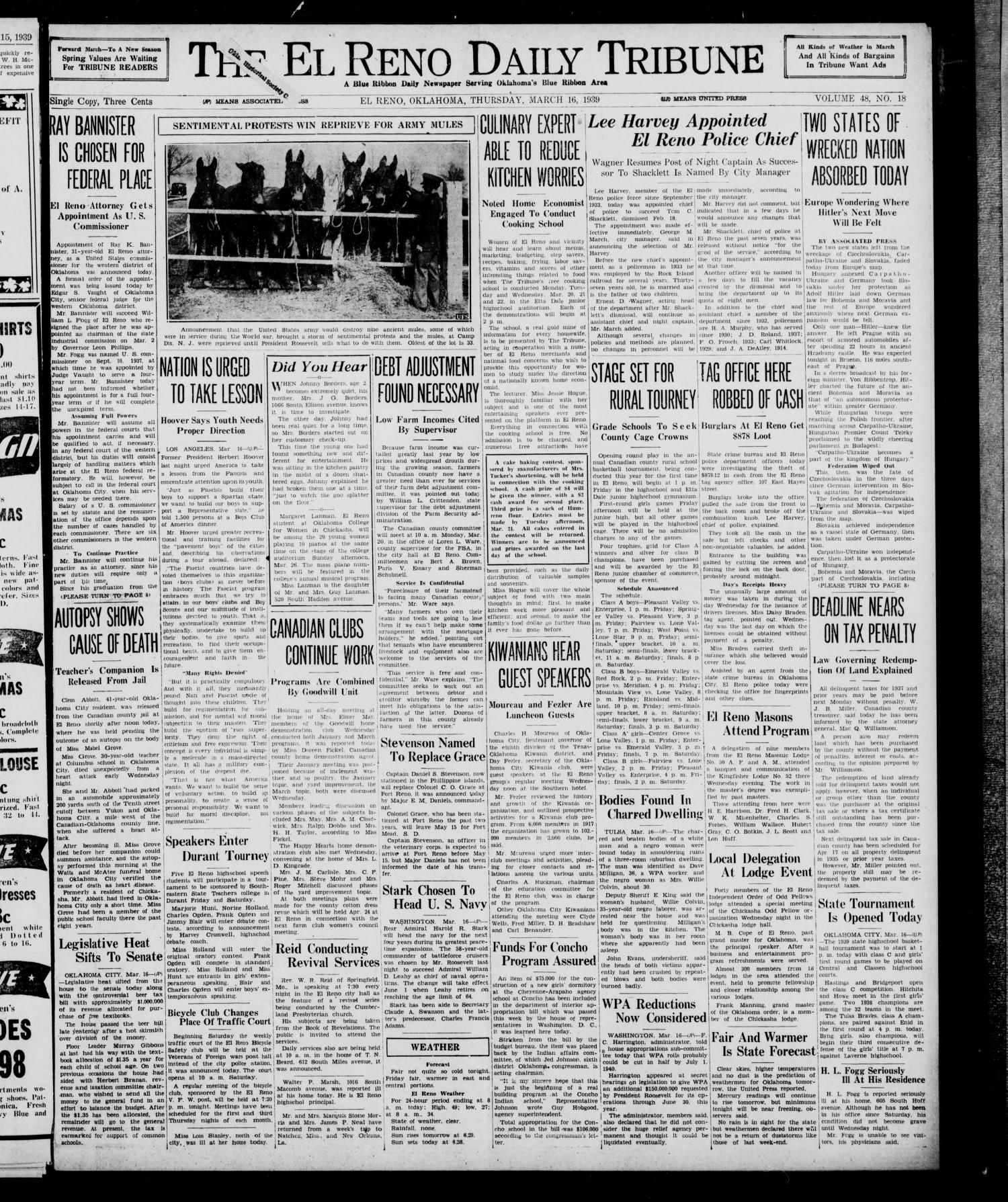 The El Reno Daily Tribune (El Reno, Okla.), Vol. 48, No. 18, Ed. 1 Thursday, March 16, 1939                                                                                                      [Sequence #]: 1 of 8