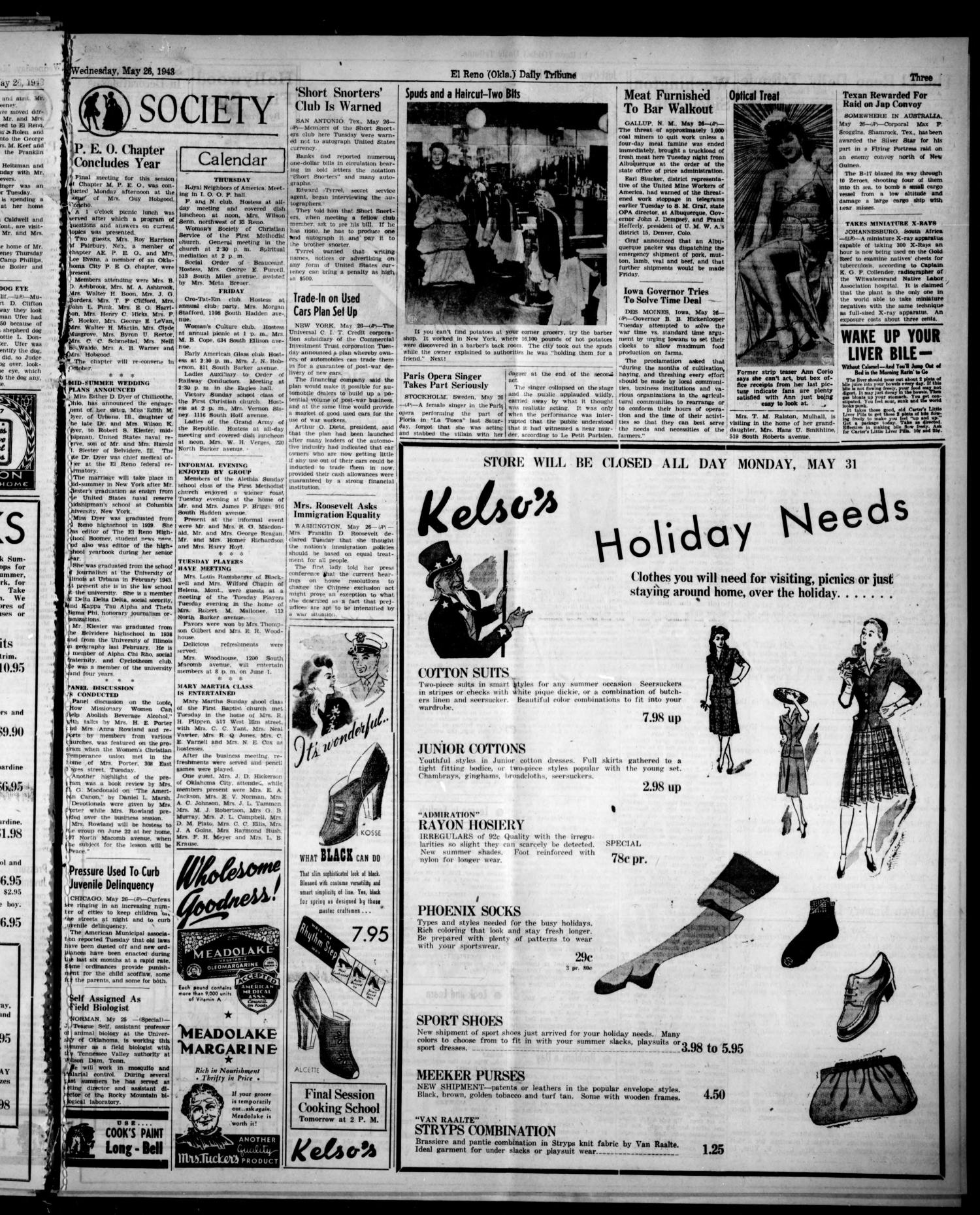 The El Reno Daily Tribune (El Reno, Okla.), Vol. 52, No. 75, Ed. 1 Wednesday, May 26, 1943                                                                                                      [Sequence #]: 3 of 8