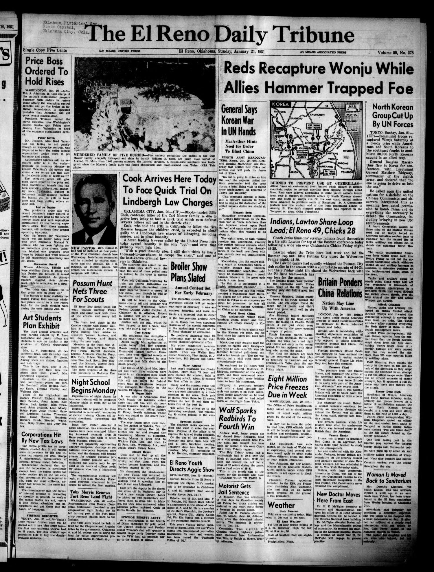 The El Reno Daily Tribune (El Reno, Okla.), Vol. 59, No. 278, Ed. 1 Sunday, January 21, 1951                                                                                                      [Sequence #]: 1 of 8