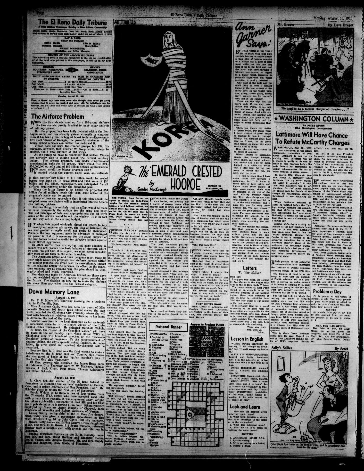 The El Reno Daily Tribune (El Reno, Okla.), Vol. 60, No. 140, Ed. 1 Monday, August 13, 1951                                                                                                      [Sequence #]: 4 of 8