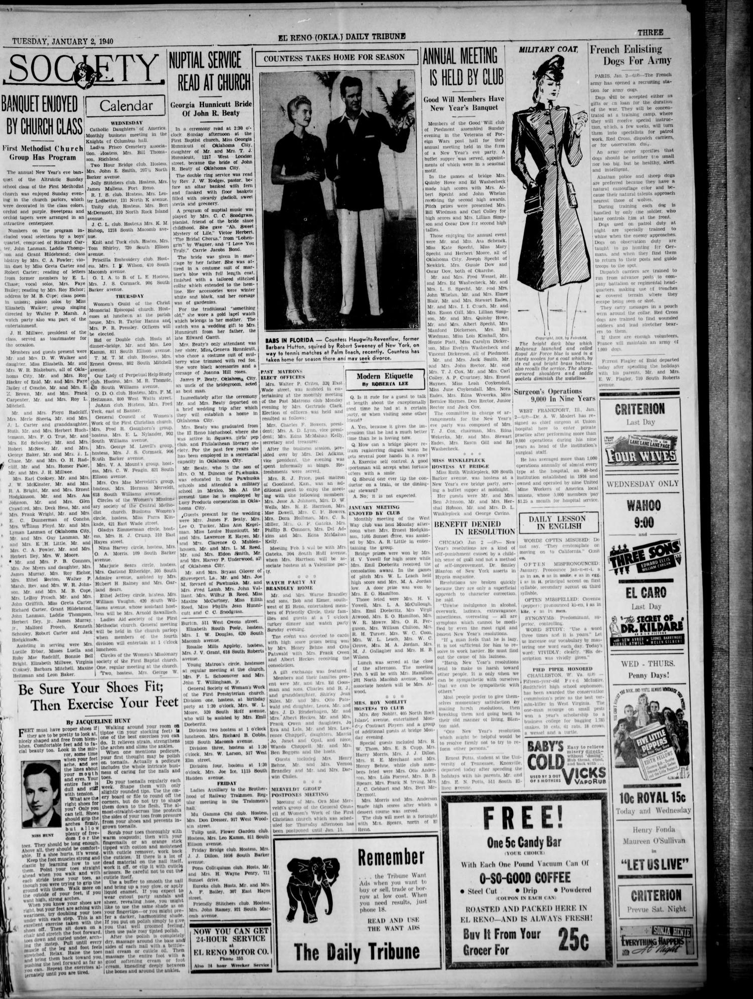 The El Reno Daily Tribune (El Reno, Okla.), Vol. 48, No. 265, Ed. 1 Tuesday, January 2, 1940                                                                                                      [Sequence #]: 3 of 6