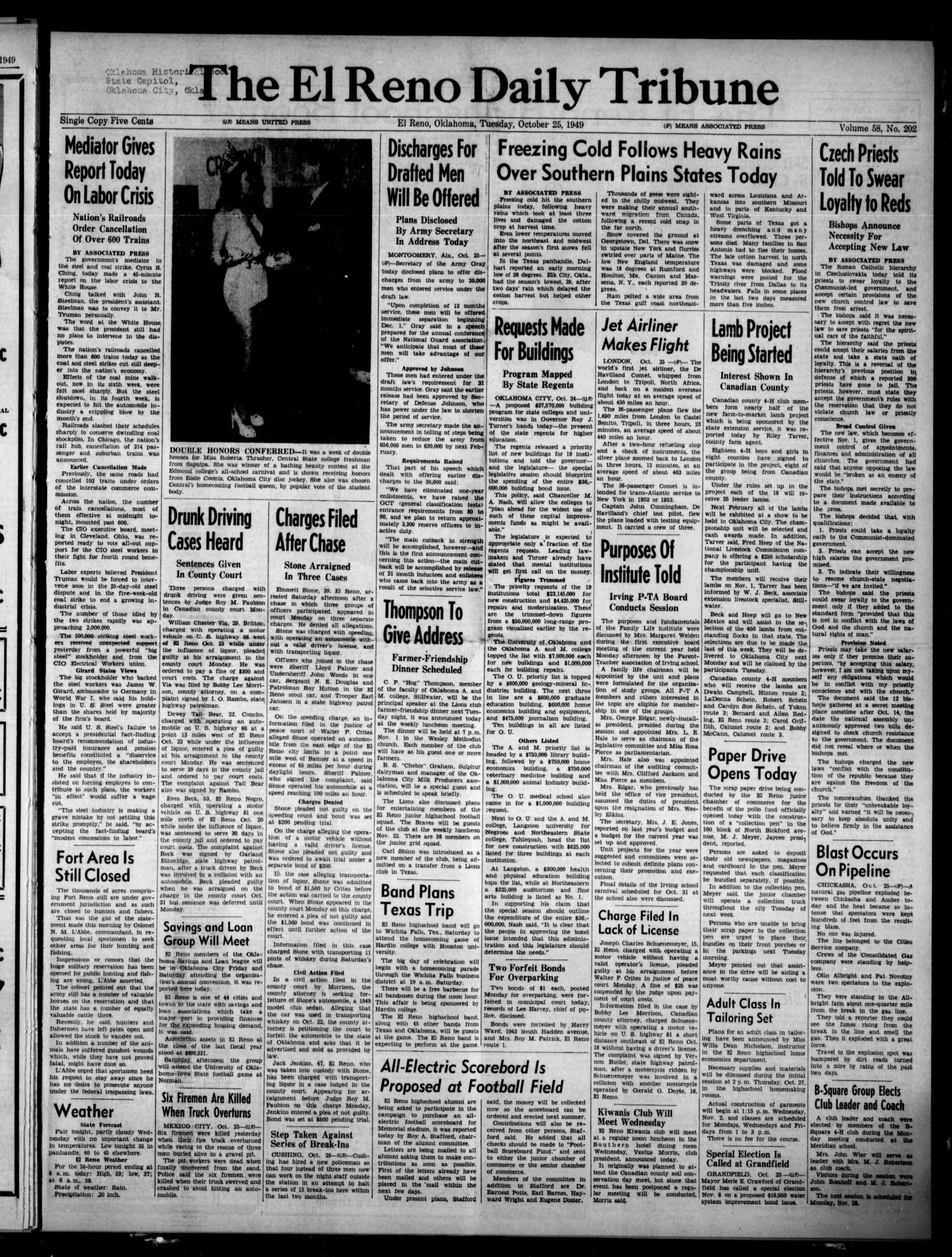 The El Reno Daily Tribune (El Reno, Okla.), Vol. 58, No. 202, Ed. 1 Tuesday, October 25, 1949                                                                                                      [Sequence #]: 1 of 6