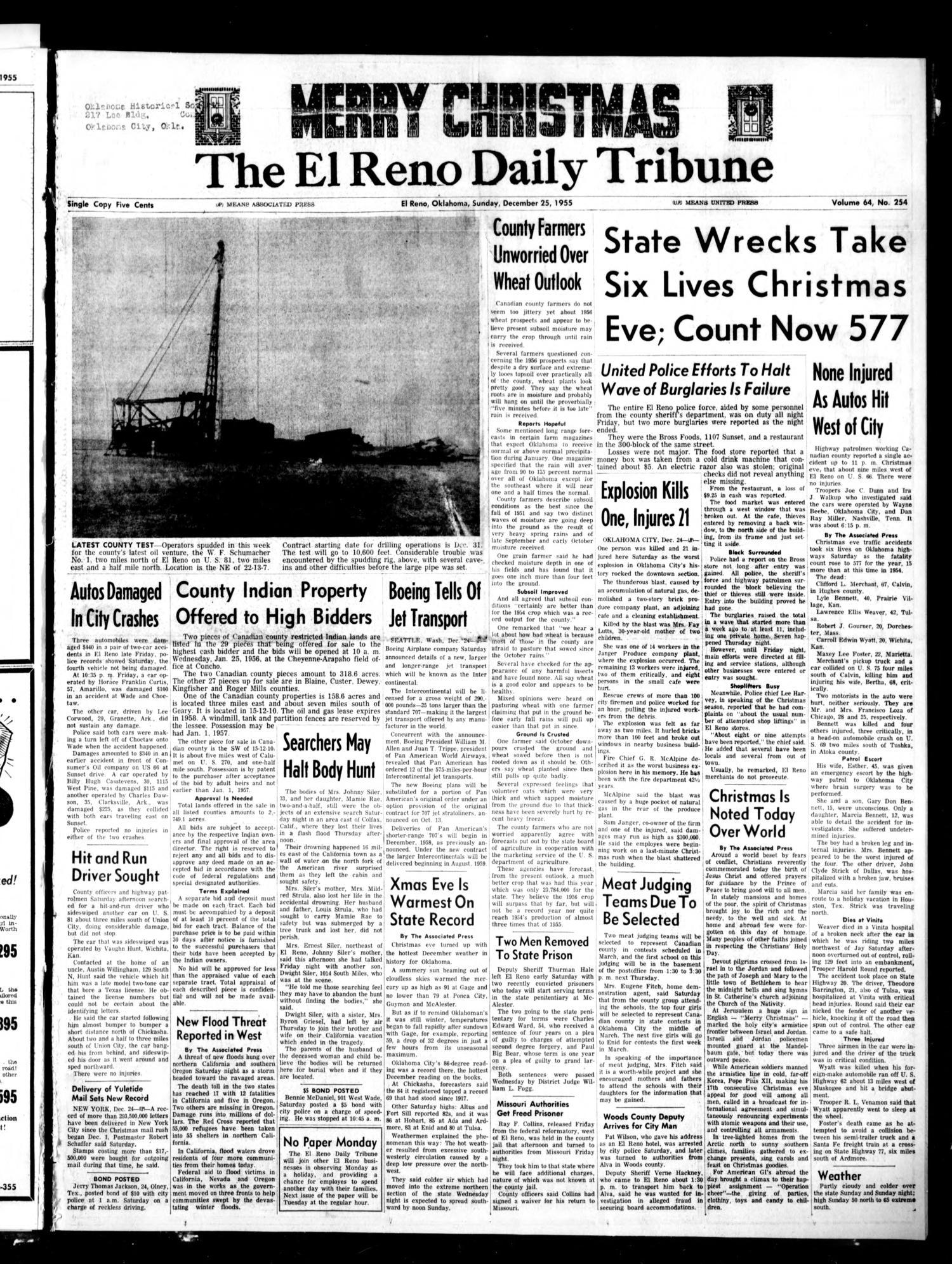 The El Reno Daily Tribune (El Reno, Okla.), Vol. 64, No. 254, Ed. 1 ...