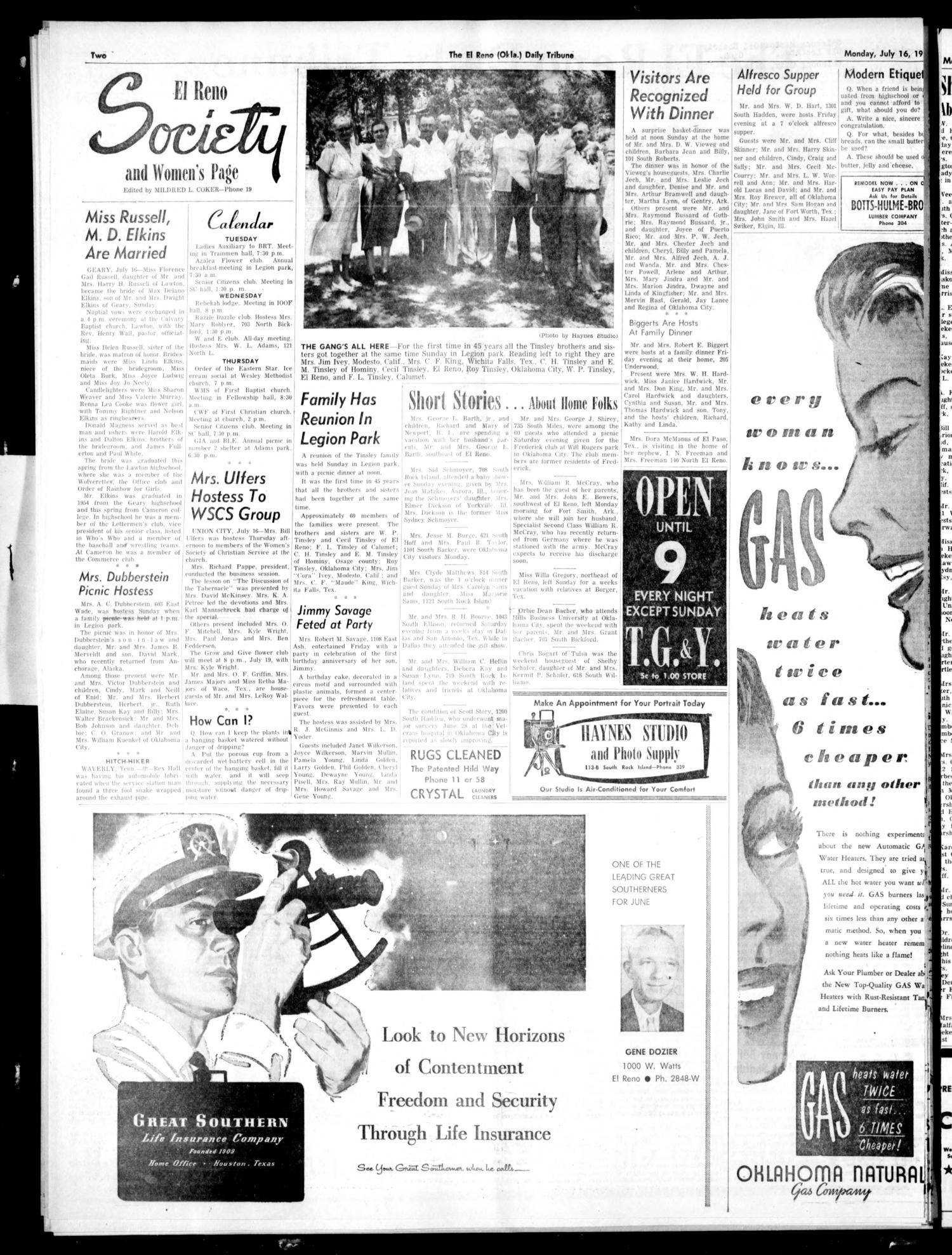 The El Reno Daily Tribune (El Reno, Okla.), Vol. 65, No. 118, Ed. 1 Monday, July 16, 1956                                                                                                      [Sequence #]: 3 of 7