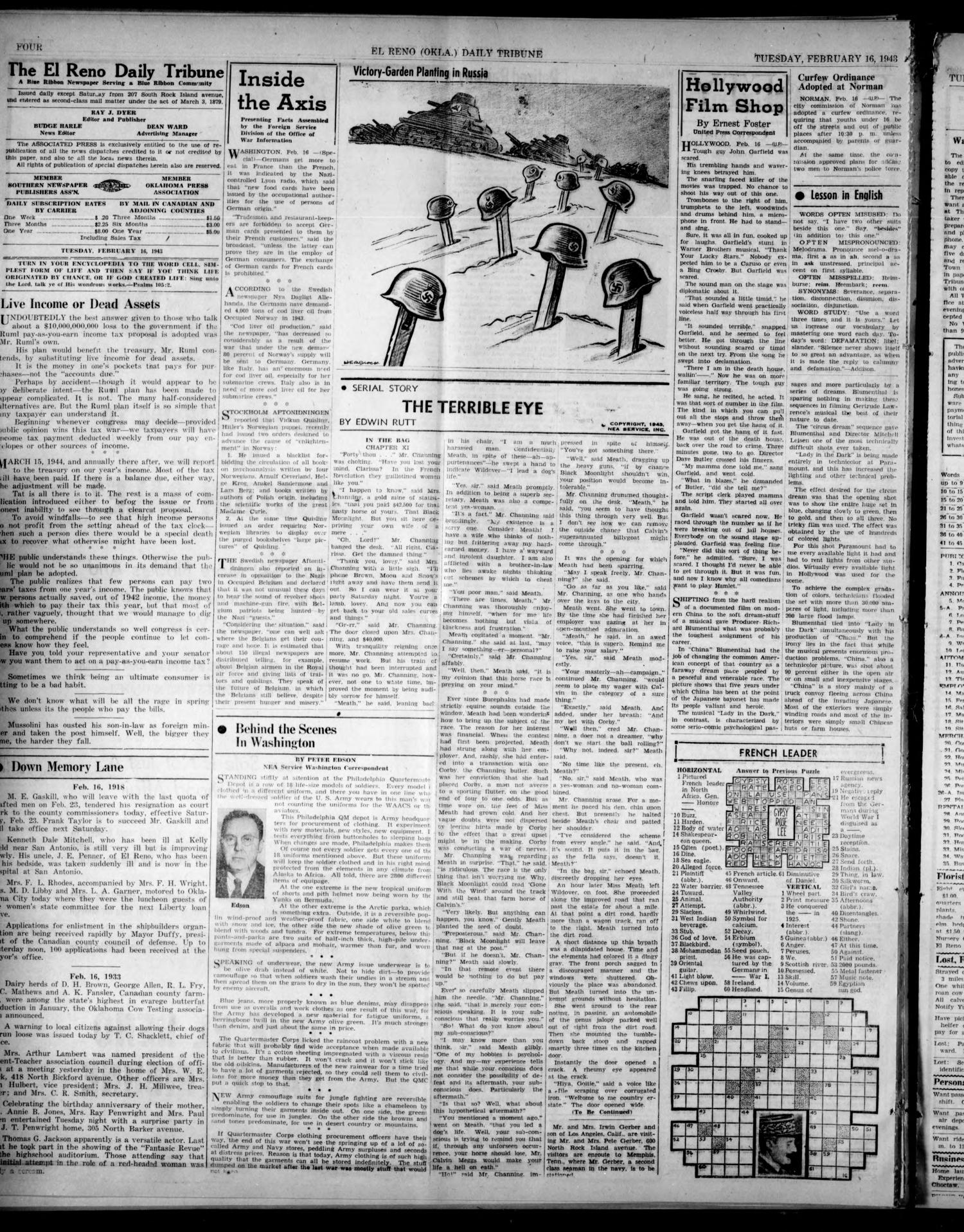 The El Reno Daily Tribune (El Reno, Okla.), Vol. 51, No. 299, Ed. 1 Tuesday, February 16, 1943                                                                                                      [Sequence #]: 4 of 6