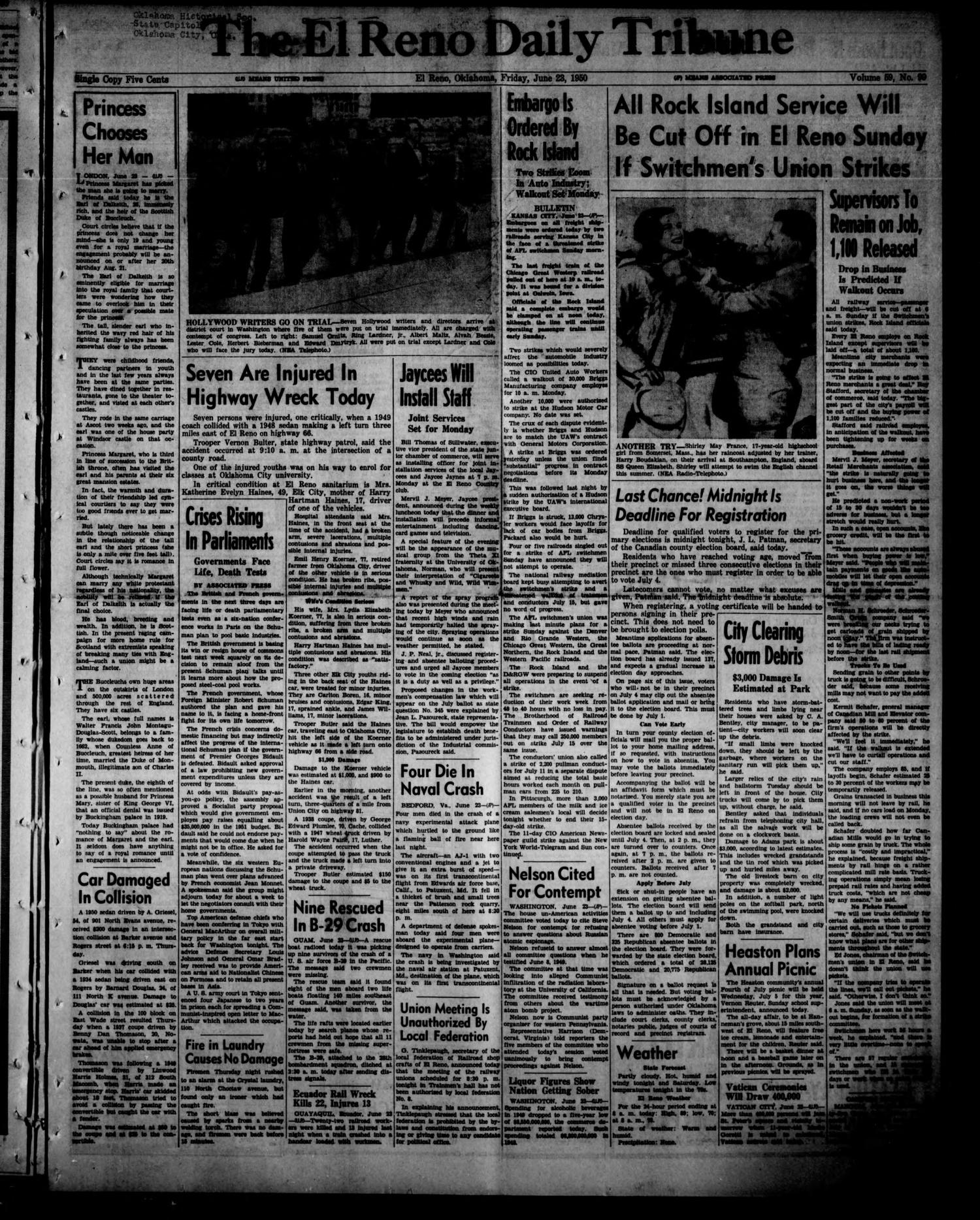 The El Reno Daily Tribune (El Reno, Okla.), Vol. 59, No. 99, Ed. 1 Friday, June 23, 1950                                                                                                      [Sequence #]: 1 of 8