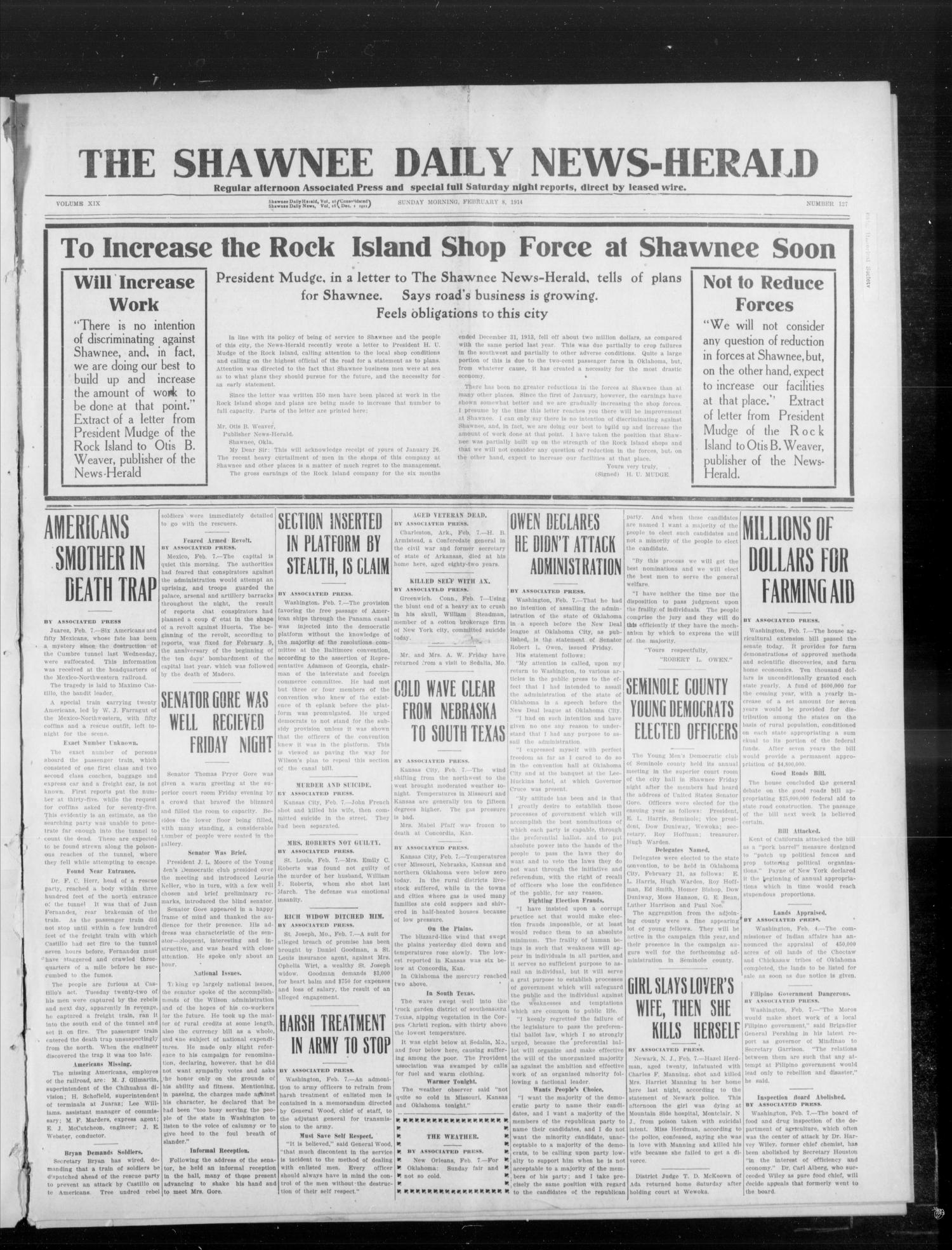 The Shawnee Daily News-Herald (Shawnee, Okla.), Vol. 19, No. 127, Ed. 1 Sunday, February 8, 1914                                                                                                      [Sequence #]: 1 of 8