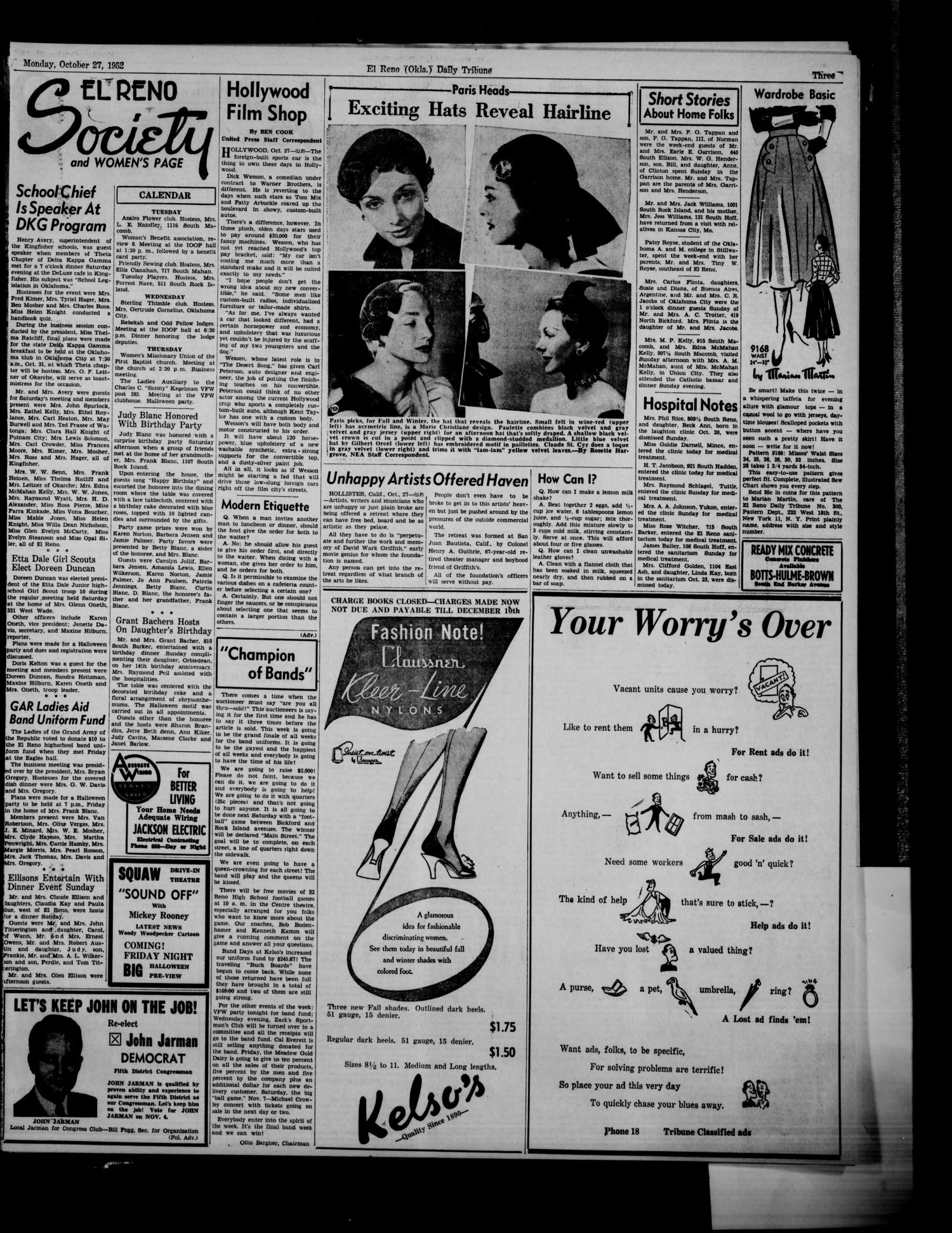 The El Reno Daily Tribune (El Reno, Okla.), Vol. 61, No. 204, Ed. 1 Monday, October 27, 1952                                                                                                      [Sequence #]: 3 of 6