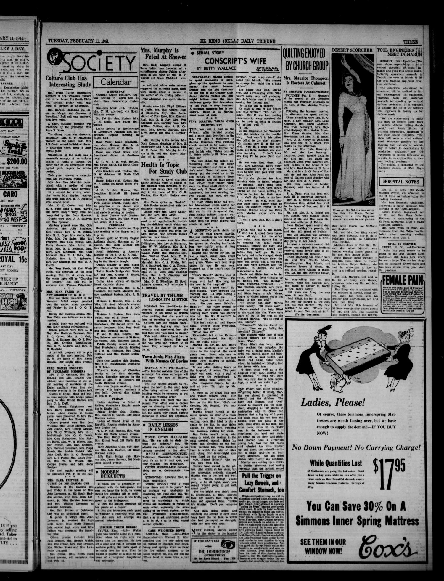 The El Reno Daily Tribune (El Reno, Okla.), Vol. 49, No. 297, Ed. 1 Tuesday, February 11, 1941                                                                                                      [Sequence #]: 3 of 6