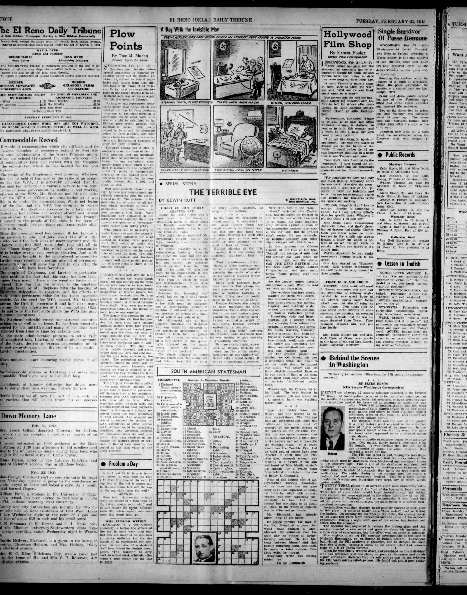 The El Reno Daily Tribune (El Reno, Okla.), Vol. 51, No. 305, Ed. 1 Tuesday, February 23, 1943                                                                                                      [Sequence #]: 4 of 6