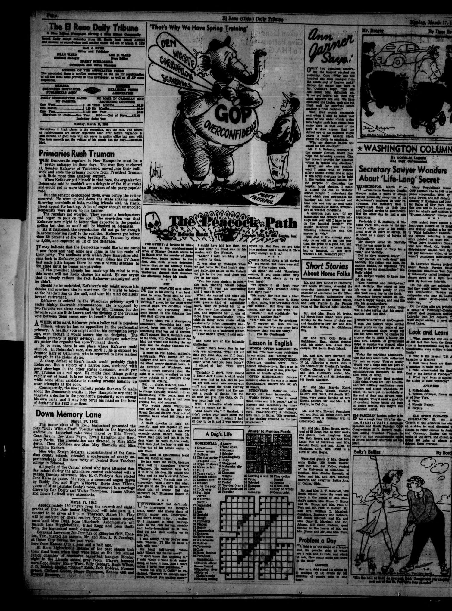 The El Reno Daily Tribune (El Reno, Okla.), Vol. 61, No. 14, Ed. 1 Monday, March 17, 1952                                                                                                      [Sequence #]: 4 of 6