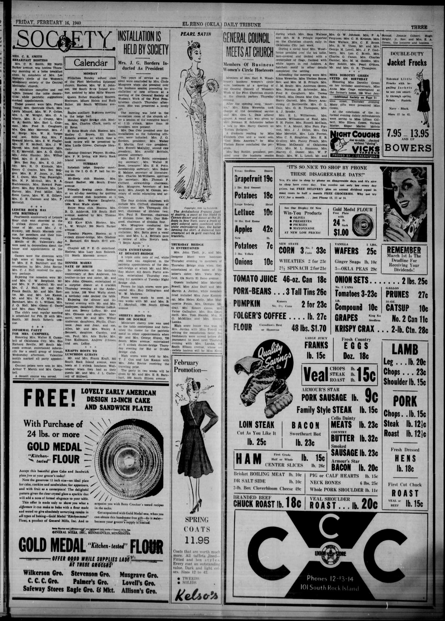 The El Reno Daily Tribune (El Reno, Okla.), Vol. 48, No. 304, Ed. 1 Friday, February 16, 1940                                                                                                      [Sequence #]: 3 of 8