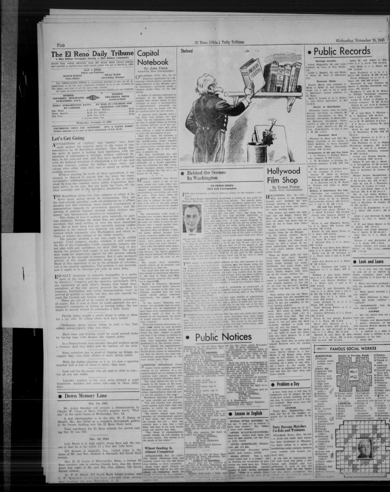 The El Reno Daily Tribune (El Reno, Okla.), Vol. 52, No. 217, Ed. 1 Wednesday, November 10, 1943                                                                                                      [Sequence #]: 4 of 6