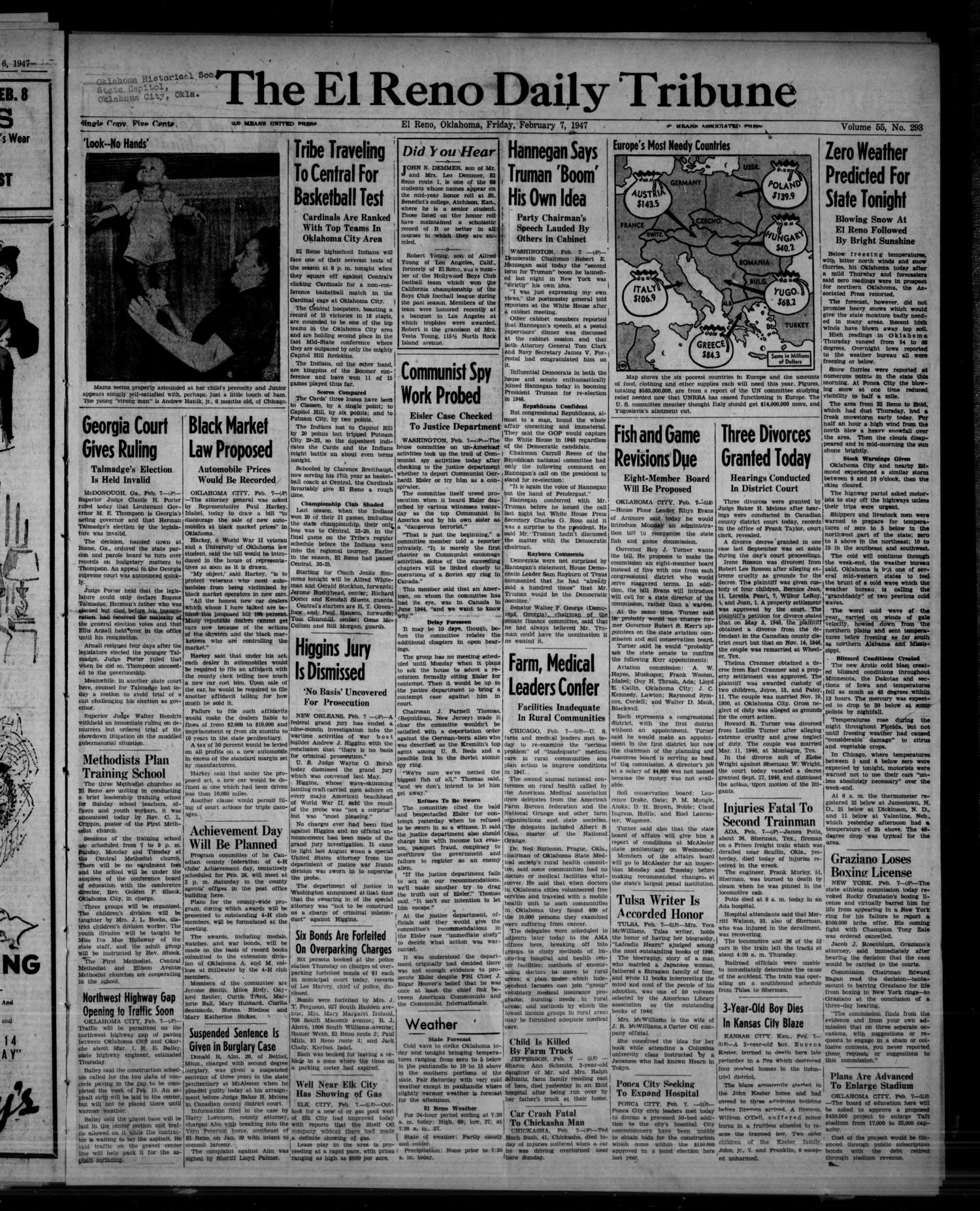 The El Reno Daily Tribune (El Reno, Okla.), Vol. 55, No. 293, Ed. 1 Friday, February 7, 1947                                                                                                      [Sequence #]: 1 of 8