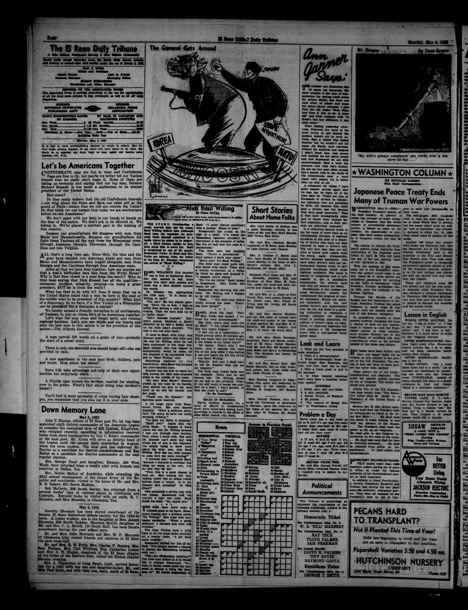 The El Reno Daily Tribune (El Reno, Okla.), Vol. 61, No. 56, Ed. 1 Monday, May 5, 1952                                                                                                      [Sequence #]: 4 of 6