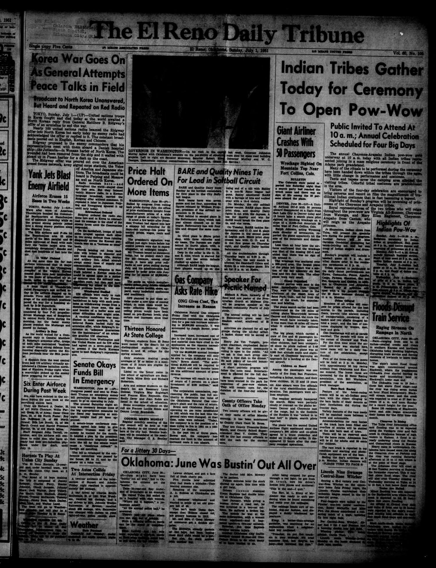 The El Reno Daily Tribune (El Reno, Okla.), Vol. 60, No. 105, Ed. 1 Sunday, July 1, 1951                                                                                                      [Sequence #]: 1 of 16