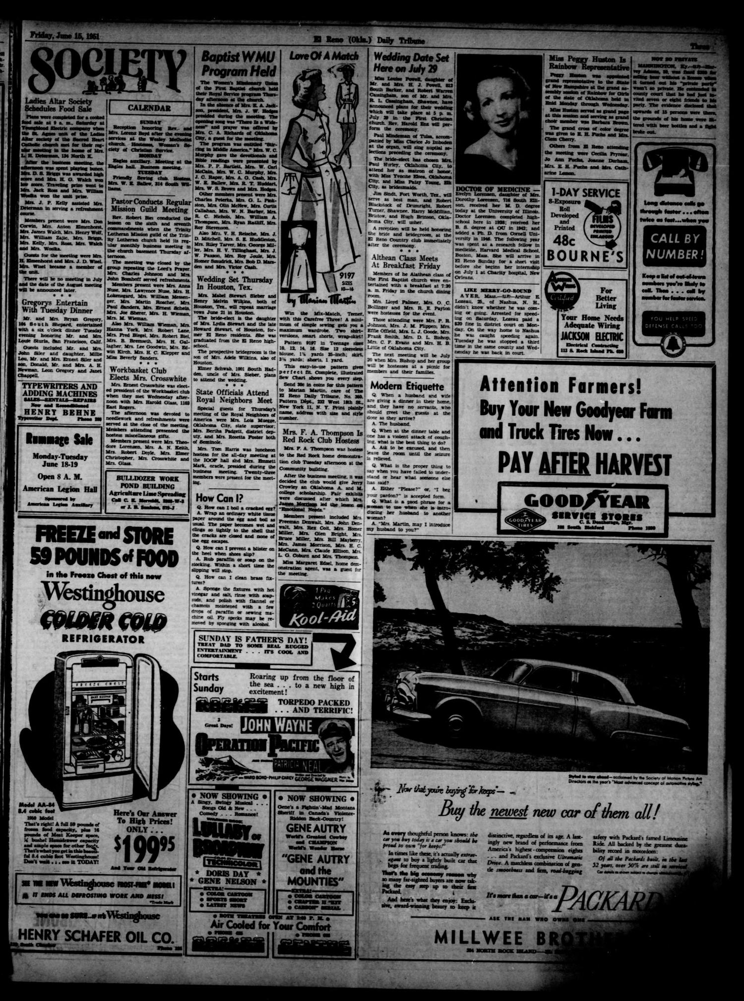 The El Reno Daily Tribune (El Reno, Okla.), Vol. 60, No. 92, Ed. 1 Friday, June 15, 1951                                                                                                      [Sequence #]: 3 of 6