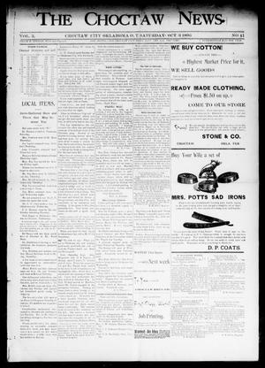 Primary view of object titled 'The Choctaw News. (Choctaw City, Okla. Terr.), Vol. 3, No. 41, Ed. 1 Saturday, October 3, 1896'.