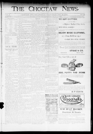 Primary view of object titled 'The Choctaw News. (Choctaw City, Okla. Terr.), Vol. 3, No. 49, Ed. 1 Saturday, November 28, 1896'.