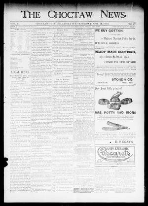 Primary view of object titled 'The Choctaw News. (Choctaw City, Okla. Terr.), Vol. 3, No. 47, Ed. 1 Saturday, November 14, 1896'.