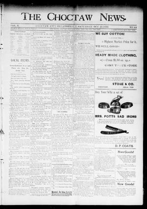 Primary view of object titled 'The Choctaw News. (Choctaw City, Okla. Terr.), Vol. 3, No. 44, Ed. 1 Saturday, October 24, 1896'.