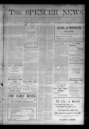 Primary view of object titled 'The Spencer News. (Spencer, Okla.), Vol. 1, No. 28, Ed. 1 Friday, October 9, 1903'.
