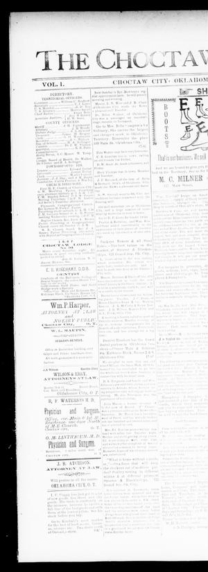 Primary view of object titled 'The Choctaw City News. (Choctaw City, Okla.), Vol. 1, No. 17, Ed. 1 Friday, June 1, 1894'.