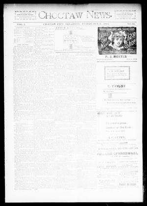 Primary view of object titled 'Choctaw News. (Choctaw City, Okla.), Vol. 1, No. 34, Ed. 1 Friday, October 5, 1894'.