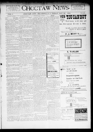 Primary view of object titled 'Choctaw News. (Choctaw City, Okla. Terr.), Vol. 1, No. 41, Ed. 1 Friday, November 23, 1894'.