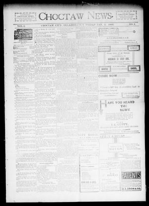 Primary view of object titled 'Choctaw News. (Choctaw City, Okla. Terr.), Vol. 2, No. 1, Ed. 1 Friday, January 4, 1895'.