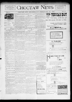 Primary view of object titled 'Choctaw News. (Choctaw City, Okla. Terr.), Vol. 1, No. 44, Ed. 1 Friday, December 14, 1894'.
