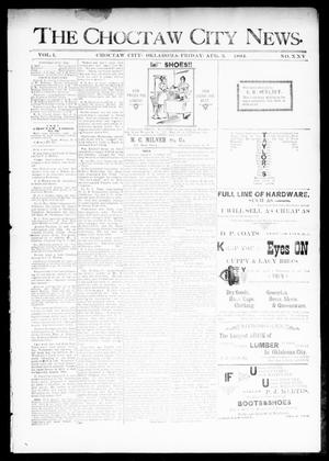 Primary view of object titled 'The Choctaw City News. (Choctaw City, Okla.), Vol. 1, No. 25, Ed. 1 Friday, August 3, 1894'.