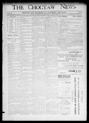 Primary view of object titled 'The Choctaw News. (Choctaw City, Okla. Terr.), Vol. 3, No. 37, Ed. 1 Saturday, September 5, 1896'.