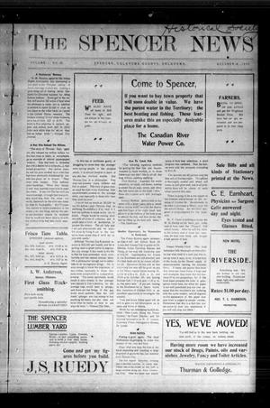 Primary view of object titled 'The Spencer News. (Spencer, Okla.), Vol. 1, No. 29, Ed. 1 Friday, October 16, 1903'.