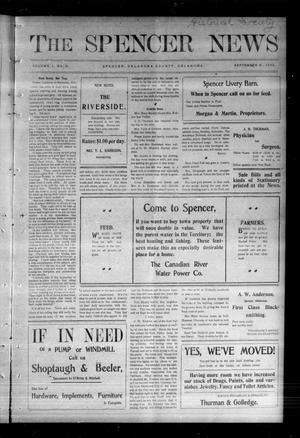 Primary view of The Spencer News. (Spencer, Okla.), Vol. 1, No. 25, Ed. 1 Friday, September 18, 1903