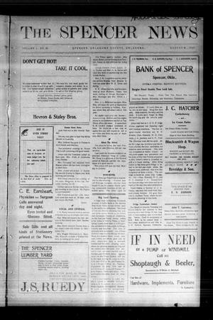Primary view of object titled 'The Spencer News. (Spencer, Okla.), Vol. 1, No. 22, Ed. 1 Friday, August 28, 1903'.
