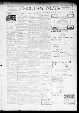 Primary view of object titled 'Choctaw News. (Choctaw City, Okla. Terr.), Vol. 1, No. 45, Ed. 1 Friday, December 21, 1894'.