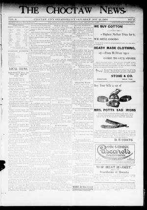 Primary view of object titled 'The Choctaw News. (Choctaw City, Okla. Terr.), Vol. 3, No. 48, Ed. 1 Saturday, November 21, 1896'.