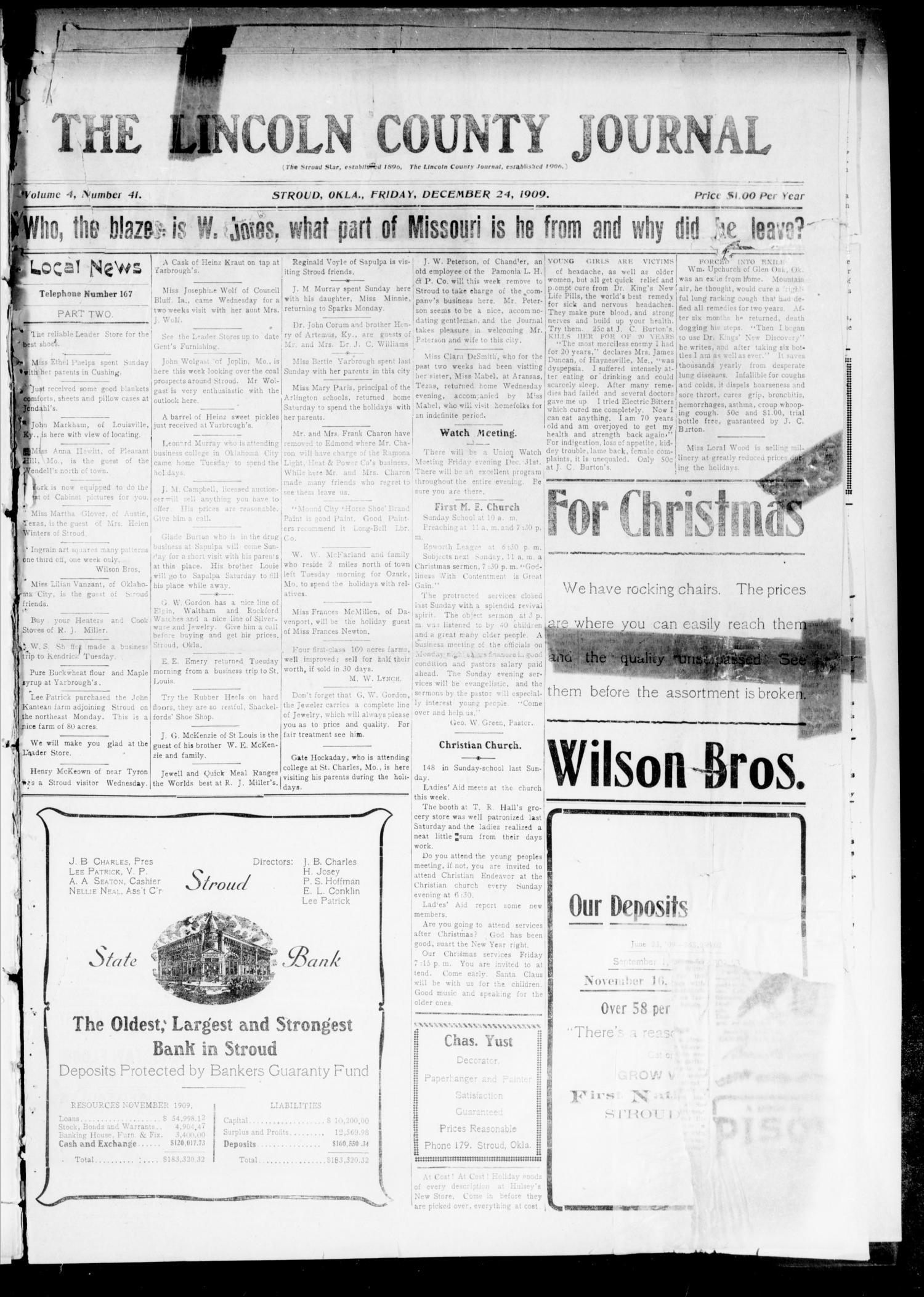 The Lincoln County Journal (Stroud, Okla.), Vol. 4, No. 41, Ed. 1 Friday, December 24, 1909                                                                                                      [Sequence #]: 1 of 8