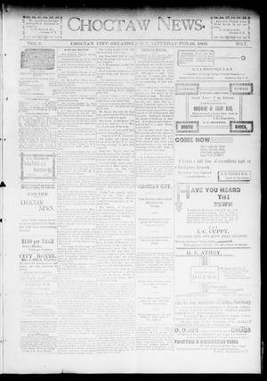Primary view of object titled 'Choctaw News. (Choctaw City, Okla. Terr.), Vol. 2, No. 7, Ed. 1 Saturday, February 16, 1895'.
