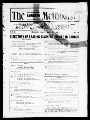 Primary view of object titled 'The American Methodist (Stroud, Okla.), Vol. 1, No. 26, Ed. 1 Wednesday, January 10, 1906'.
