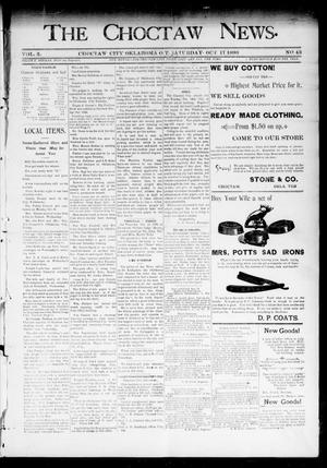 Primary view of object titled 'The Choctaw News. (Choctaw City, Okla. Terr.), Vol. 3, No. 43, Ed. 1 Saturday, October 17, 1896'.