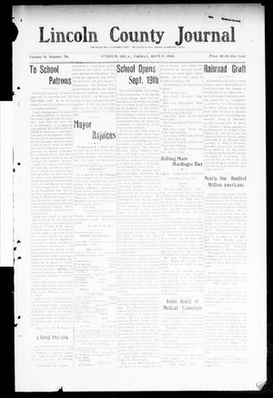 Primary view of object titled 'Lincoln County Journal (Stroud, Okla.), Vol. 5, No. 26, Ed. 1 Friday, September 9, 1910'.