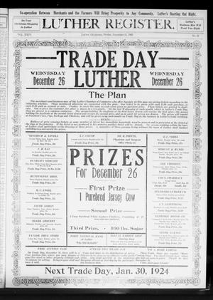 Primary view of object titled 'Luther Register. (Luther, Okla.), Vol. 24, No. 21, Ed. 1 Friday, December 21, 1923'.