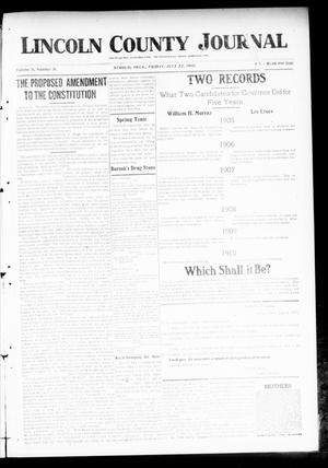 Primary view of object titled 'Lincoln County Journal (Stroud, Okla.), Vol. 5, No. 19, Ed. 1 Friday, July 22, 1910'.