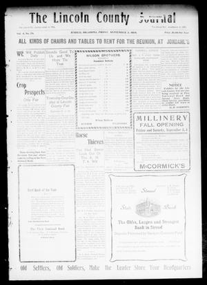 Primary view of object titled 'The Lincoln County Journal (Stroud, Okla.), Vol. 4, No. 26, Ed. 1 Friday, September 3, 1909'.